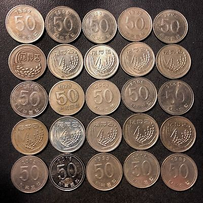 Old South Korea Coin Lot - 50 WON - 25 Great Coins - FREE SHIPPING