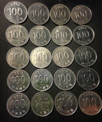Old South Korea Coin Lot - 100 WON - 20 Great Coins - FREE SHIPPING