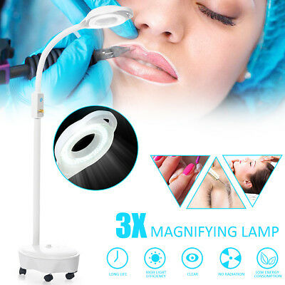 Pro 8x Diopter LED Magnifying Floor Stand Light Magnifier Glass Len Facial Lamp