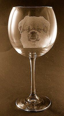 New Etched Tibetan Spaniel on Large Elegant Wine Glasses - Set of 2