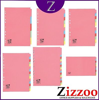 Subject File Dividers Filing Multi Punched 5 10 12 15 And 20 Part And A4 And A3
