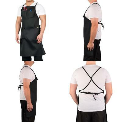 Heavy Duty Split-Leg Utility Apron For Work With Pockets Adjustable Black Aprons