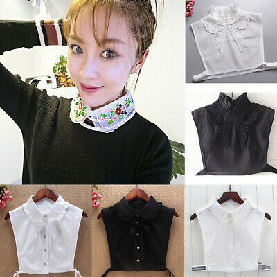 Womens Cotton False Collar Choker Blouse Peter Pan Lapel Shirt Fake Collar