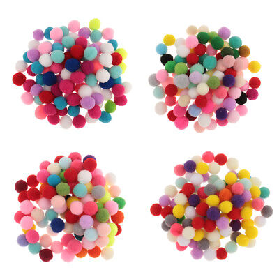 Assorted Fluffy Pom Poms Mini Mixed Colour Craft Pompoms Ball Size 10/15/20/30mm