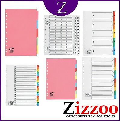 A4 File Subject Dividers Plain Or With Numbers Or Letters + A5 And A3 Option!