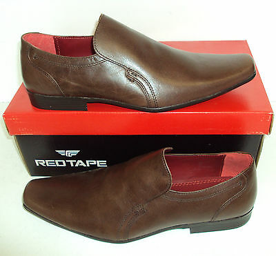 RED TAPE Mens Leather Humber Brown Slip On Casual Formal Shoes New Size UK 7-10