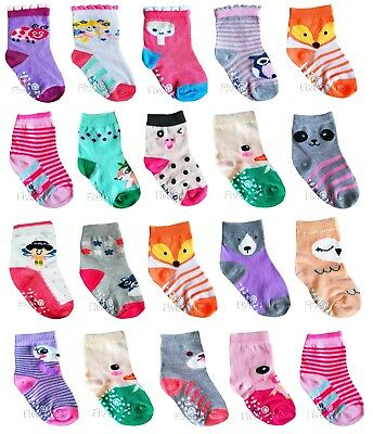New Baby Girl Anti Slip Socks Toddler Kid Cotton 4 Pairs ABS 0-6-12-18-24 months