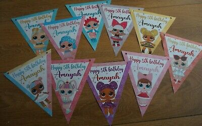 Personalised Lol Doll Party Bunting /banner /birthday Decoration/pin Game A3