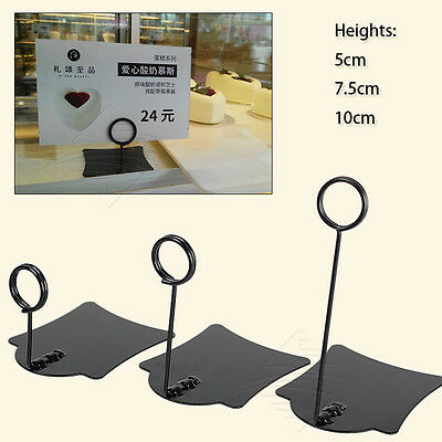 5pcs Bakery Store Cake Dessert Shop Price Label Card Stainless Sign Holder Stand