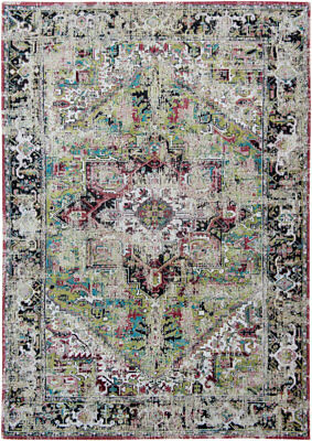 Antiquarian Antique Heriz AVLU GREEN 8706 Louis de Poortere Distress Vintage Rug