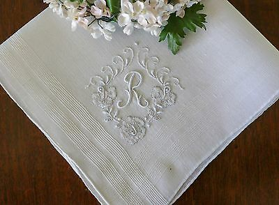 Vintage Madeira Hanky Monogram R All Hand Embroidered & Applique Roses