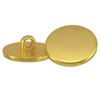 PLATED PLASTIC PLAIN SHINY GOLD BLAZER FLAT SHANK BUTTONS 20mm