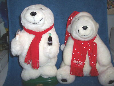 """Two Coca-Cola Bears 1996 and 1997 13"""" and 14"""" Tall One Plays Christmas Carols"""
