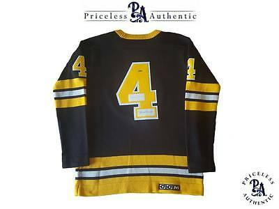 IMPOSSIBLY RARE Bobby Orr   James Norris AUTO Boston Bruins Vintage Wool  Jersey 4679de24a