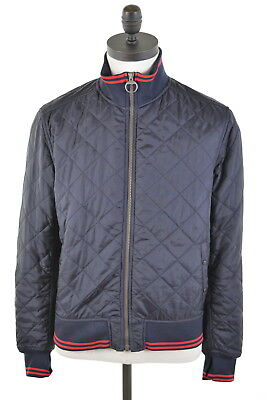 BARBOUR Mens Quilted Jacket Size 40 Medium Navy Blue Polyester