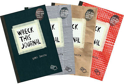 Wreck this Journal Black, Duct Tape, Red, Paper Bag Complete Set by Keri Smith