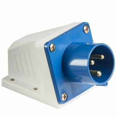 16A 240V Blue Industrial Site Plug, 3 Pin Male Wall Fix Inlet, IP44 Weatherproof