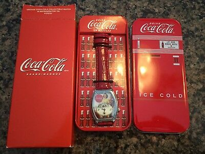 Coca Cola Vintage Analog Watch in Refrigerator Tin Case New