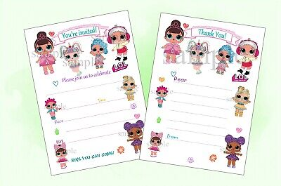 LOL DOLL Party Invitations Invites Or Thank You Notes X20 No Envelopes