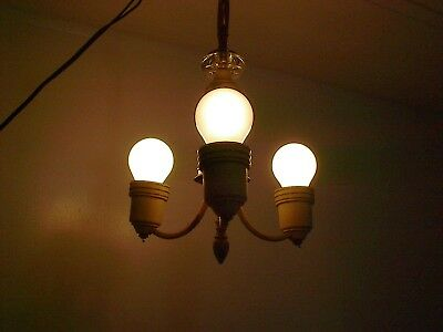 Art Deco 3 Light Ceiling Light Chandelier With Turn Switch For Parts or Restore