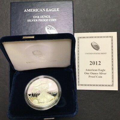 2012 W Proof Silver American Eagle Dollar US Mint Coin 999 OMP/COA