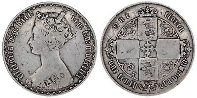 1859 Victoria florin silver coin of Great Britain