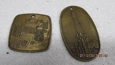 LOT 2 RARE, Vintage Metal Water Tower Hyatt House O'HARE Chicago Hotel Fob