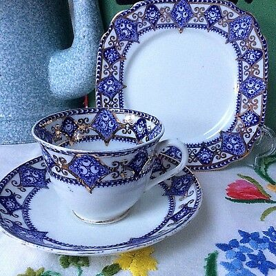 Early Standard Rich Blue White & Gold China Cup Saucer & Plate TRIO