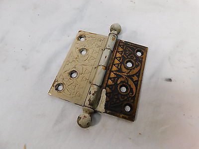 "Antique 4"" Eastlake Style Door Hinges - C. 1885 Ball Top Architectural Salvage"