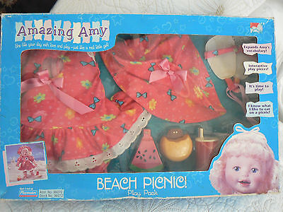 1998 Amazing Amy Doll Playmates BEACH PICNIC OUTFIT & ACCESSORIES NEW IN BOX!