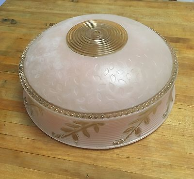 Vintage Antique ART DECO FROSTED PINK CUT GLASS LIGHT SHADE/FIXTURE