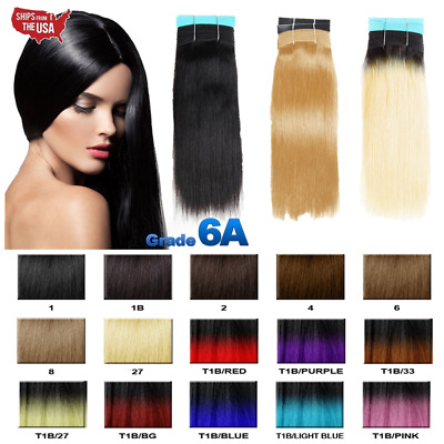 Real Thick 100% Remy Human Hair Yaki Straight Bundle Ombre Hair Weave Extension