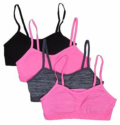 Delias 4-Pack Big Girls Jacquard Training Bra with Removable Pads, Assortment 3,