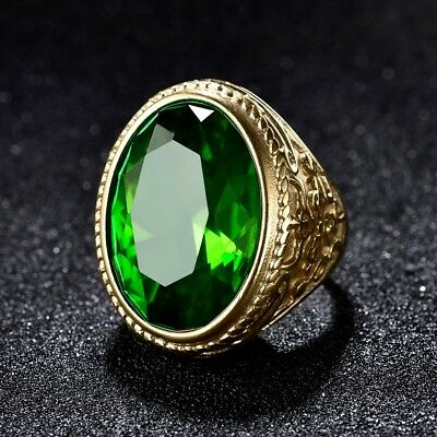 Mens Gold Stainless Steel Oval Green Emerald Gemstone Celtic Wedding Rings Band