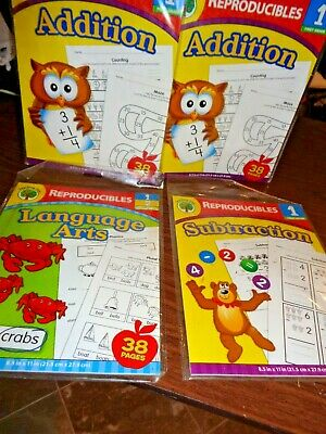 Set of 3 Teaching Tree First 1st Grade Subtraction, Addition & Language workbook