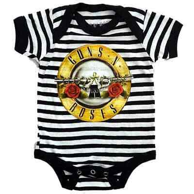 Guns N Roses Bullet Logo Stripe Baby One Piece Bodysuit Infant Romper Offcl 0-24