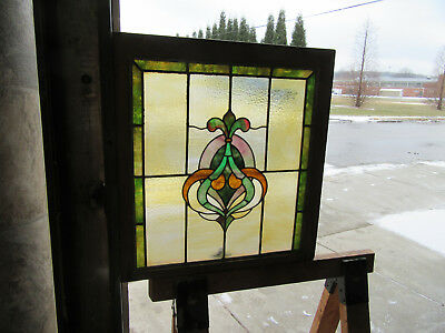 ~ ANTIQUE AMERICAN STAINED GLASS WINDOW ~ 24 x 25.25 ~ ARCHITECTURAL SALVAGE ~