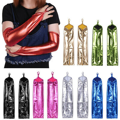 Sexy Women's Wet Look Metallic Shiny Fingerless Gloves Evening Party Costume