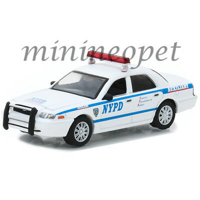 Greenlight 42822 2011 Ford Crown Victoria Interceptor Nypd Police Car 1/64 White