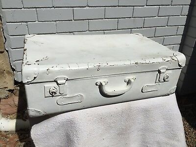 Old White Painted Suitcase