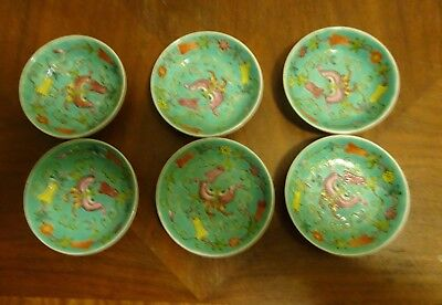 Vintage Longevity Chinese Mun Shou Teal Famille Rose Porcelain Saucer set of 6