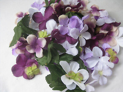 Fabric Flower Petals & Leaves Purple LIlac White Green  50gm  LOT