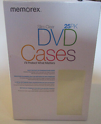 DVD Slim Cases Video Storage Cases 25 Pack  Clear New Memorex