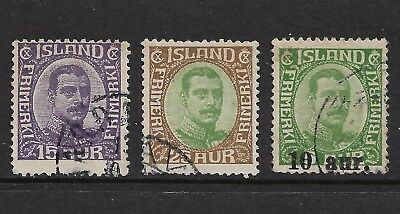 ICELAND 1920 King Christian X, 1921 surcharge, used
