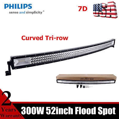 52inch CURVED TRI-ROW 675W LED Light Bar Flood Spot Driving Slim Lamp Offroad US