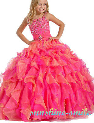 Sunshine-Smile Girls Dress Kids Pageant Party Prom Ball Gowns In Stock Fast Ship