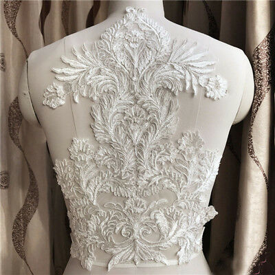 1pc Floral Lace Applique Trim Embroidery Sewing Motif Wedding Bridal DIY Crafts