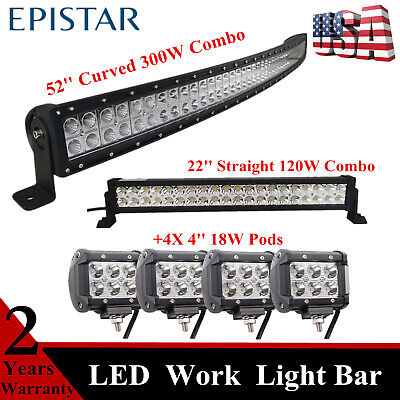 """52inch 300W Curved Led Light Bar + 22inch 120W Combo Lamp & 4X 4"""" Spot Cube Pods"""