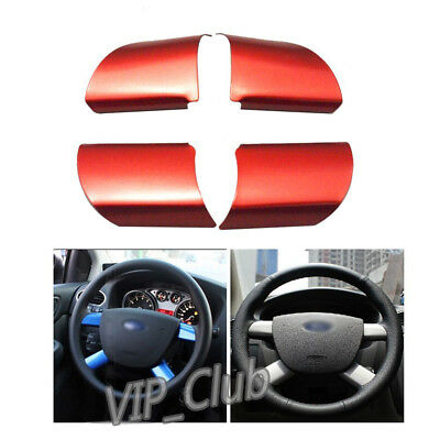 4Pcs Red Chrome Car Steering Wheel Decor Cover Trim for Ford Focus 2005-2009