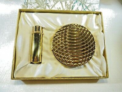 Vintage Gilot France Gold Tone Mirror Compact and Lipstick In Original Box